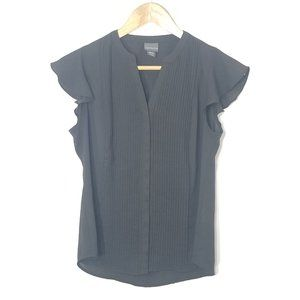 Covington Petite | Black Button Front Blouse Small